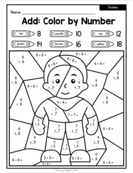 FREE Color by Number Super Heroes with Doubles, +/-10, and