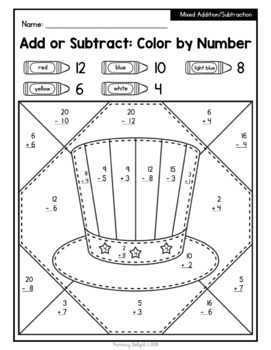 4th of July Math Color by Number Pages with Addition