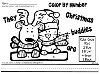 Christmas Color by Number with Sentence Writing {Morning