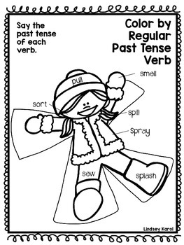 Color by Regular and Irregular Past Tense Verbs by Lindsey