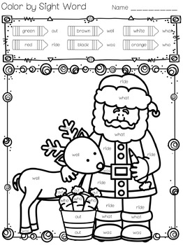Christmas Color by Sight Words by Look Who's in First