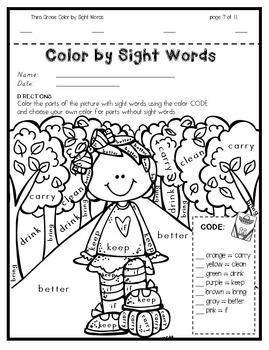 Color by Sight Words ~ FALL Edition (3rd Grade) by Teacher