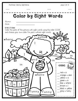 Color by Sight Words ~ FALL Edition (Pre-Primer) by