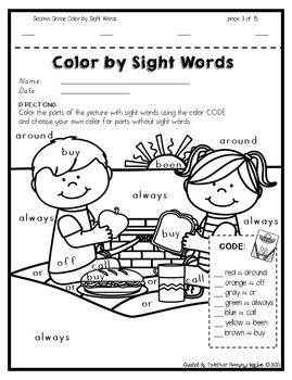 Color by Sight Words ~ SUMMER Edition (2nd Grade) by