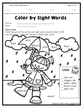 Color by Sight Words ~ SPRING Edition (Primer) by Teacher