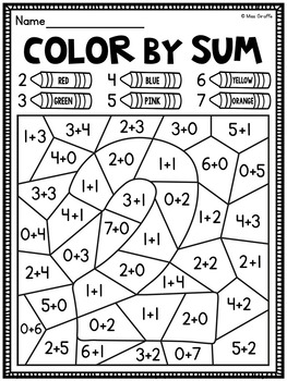 Color by Sum Addition Fact Fluency Worksheets by Miss