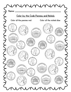 Color by the Code Pennies and Nickels by Teaching With