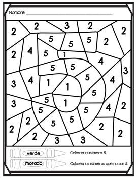 Colorea los numeros en ingles y espanol by Bilingual Made