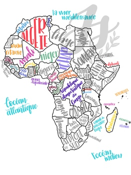 colorful map of francophone