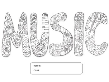 Coloring Music Folder Cover Page by Learning to Teach