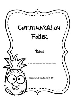 Coloring Page Communication Folder Covers (Pineapple Theme