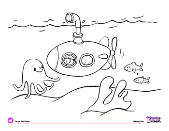 Coloring Page: Transportation Theme: Submarine by Monarca