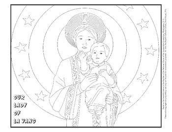 Coloring Page of Our Lady of La Vang, detail by Julie