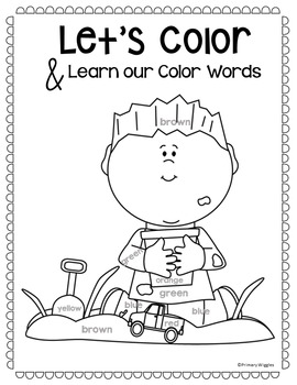 Summer Coloring Pages with Color Words by Primary Wiggles