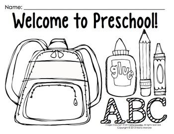 Coloring Pages for Back to School {Pre-K-1 classrooms} by