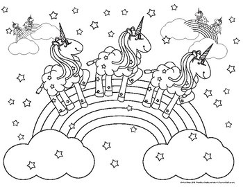Coloring Pink Fluffy Unicorns Dancing on Rainbows by
