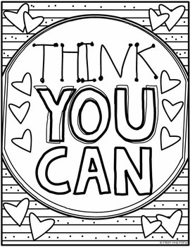 Growth Mindset Coloring Poster Worksheets by From the Pond
