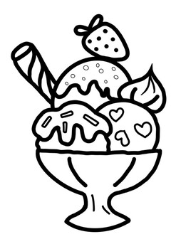 Coloring image Summer ice cream printable page by Mali