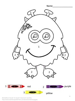 Color by Number Monster, Special Education Math