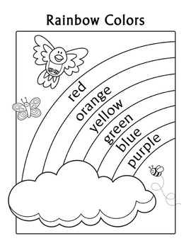 rainbow coloring page with words colors practice rainbow