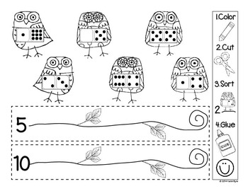 Color, Cut, Sort! Number Bond Owls (dominoes) by Katie