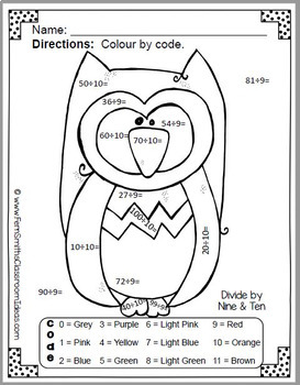 Colour By Numbers Funky Owl Addition Subtraction