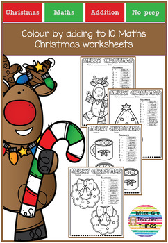 Colour by adding to 10 Maths Christmas worksheets