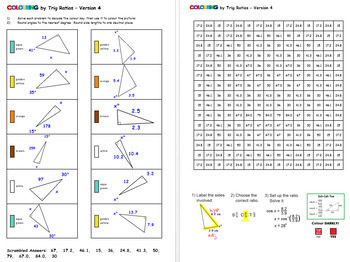 Colouring by Trig Ratios, Emojis (18 Solo Worksheets!) by