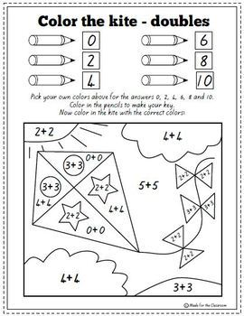 Addition Facts to 10 Coloring Worksheets by Made for the
