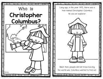 Columbus Day Reader for First Grade and Kindergarten