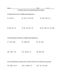 Combine Like Terms and Distributive Property Worksheet by ...