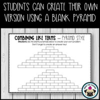 Combining Like Terms Activity - Pyramid Style by The Smart ...