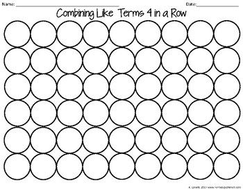 Combining Like Terms Game by To the Square Inch- Kate Bing