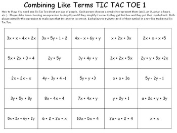 Combining Like Terms Game By Idea Galaxy  Teachers Pay Teachers