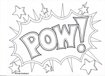 Comic Book Superhero Sound Effect Coloring Pages by