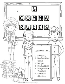 Comma Rules Posters, Color By Code, and Quiz BUNDLE! by