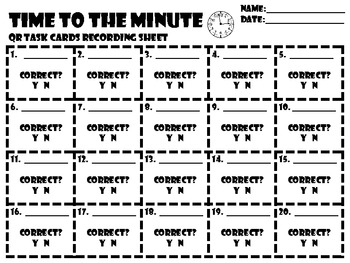 Common Core 3rd Grade-Time to the Minute-QR Code Task