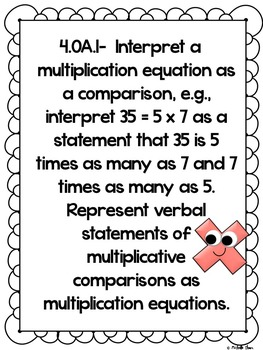 Common Core 4.OA.1 {Multiplication Assessment & Rubrics