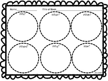Common Core 5 W's and an H Graphic Organizer by The Bomb