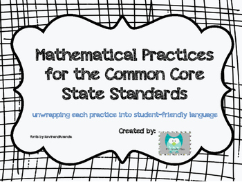 Common Core 8 Mathematical Practices Posters and Student