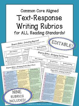 Reader Response Rubrics for ALL Anchor Reading Standards