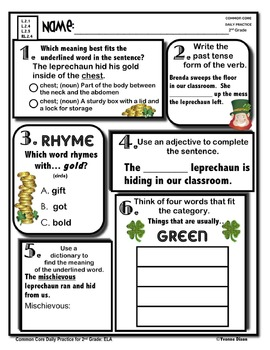 Common Core Daily Practice Worksheets for Second Grade