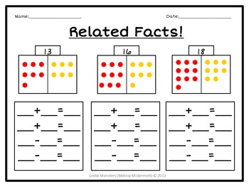 Common Core Fact Families Worksheets by Melissa Mcdermott