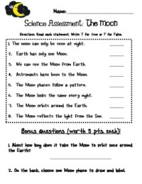 Common Core First Grade Science Assessment The Moon by