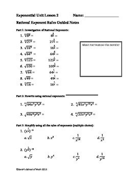 Common Core Math 1 Rational Exponent Rules Guided Notes