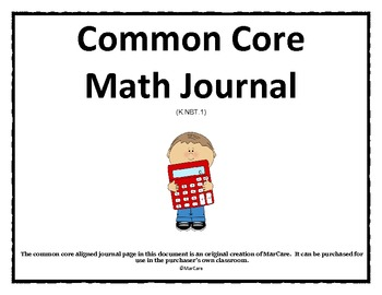 Common Core Math Journal by First Grade Common Core