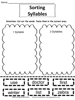 Primary Reading: Sorting Syllables Cut and Paste Activity