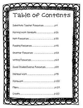 Common Core Substitute Binder THIRD GRADE EDITION by