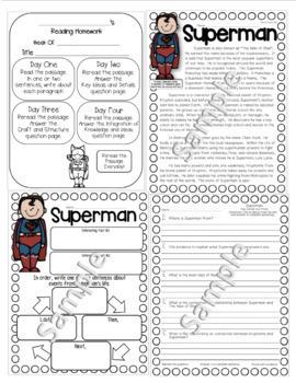 Superhero Close Reading Passages Homework Assessment