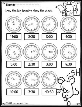Telling Time To The Hour And Half Hour Worksheets by